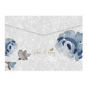 ΦΑΚΕΛΟΣ ΚΟΥΜΠΙ Α4 BLUE FLOWERS