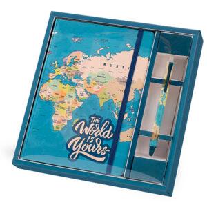ΣΗΜΕΙΩΜΑΤΑΡΙΟ TOTAL GIFT XL1854 BLUE MAP A5 ΛΑΣΤΙΧΟ & ΣΤΥΛΟ